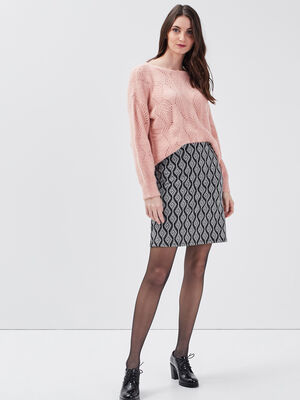 Jupe droite taille elastiquee ecru femme