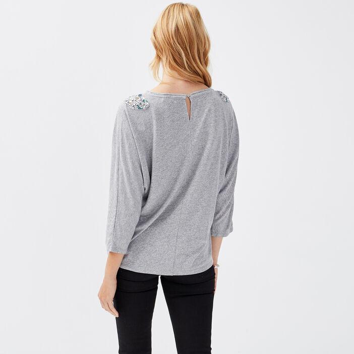 Pull manches 3/4 gris clair femme