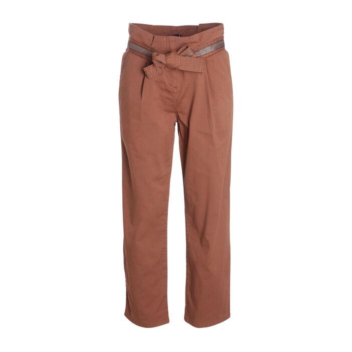 Pantalon taille standard marron clair femme