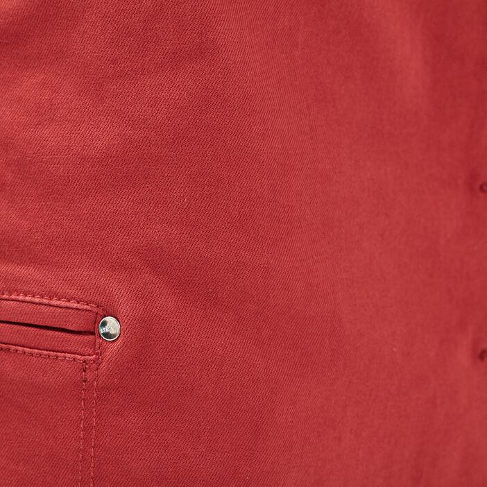 Jupe droite boutonnée rouge foncé femme