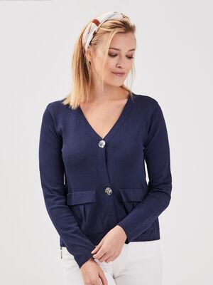 Gilet manches longues boutonne bleu marine femme