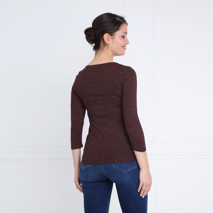 T-shirt manches 3/4 col rond marron foncé femme