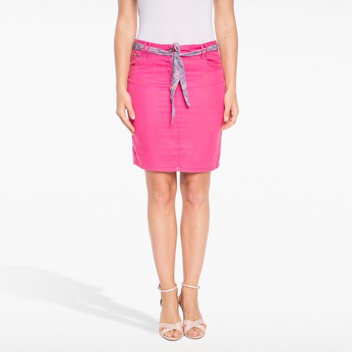 Jupe droite avec ceinture tissu imprimé rose fushia femme