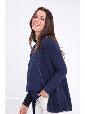 Gilet shaggy liseres metallises bleu fonce femme