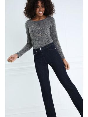 Jeans droit taille basculee denim brut femme