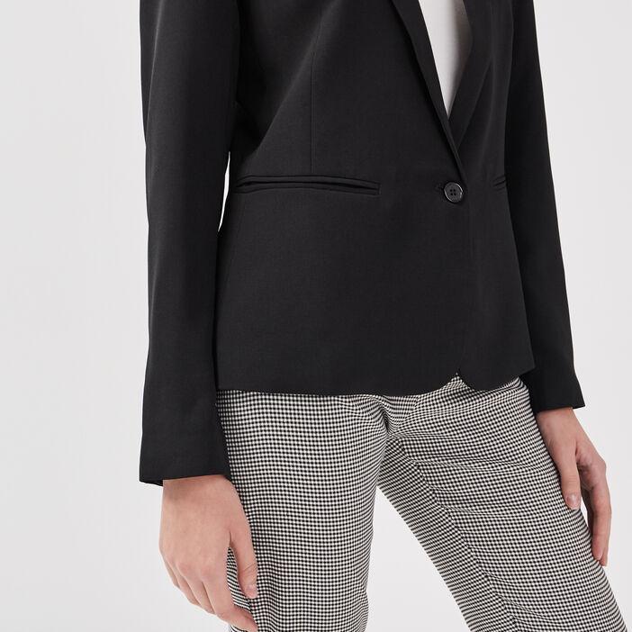 Veste blazer droite boutonnée noir femme