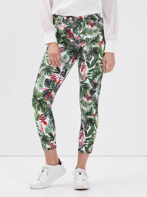 Pantalon ajuste taille haute ecru femme
