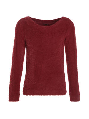 Pull manches longues rouge fonce femme