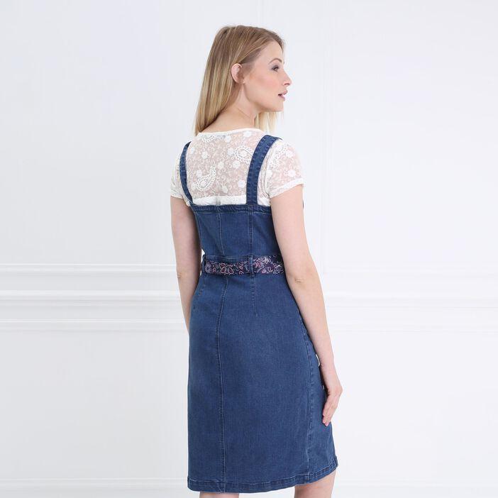 Robe cintrée boutonnée en jean denim stone femme