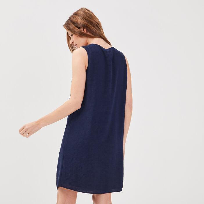 Robe droite détail laçage bleu marine femme