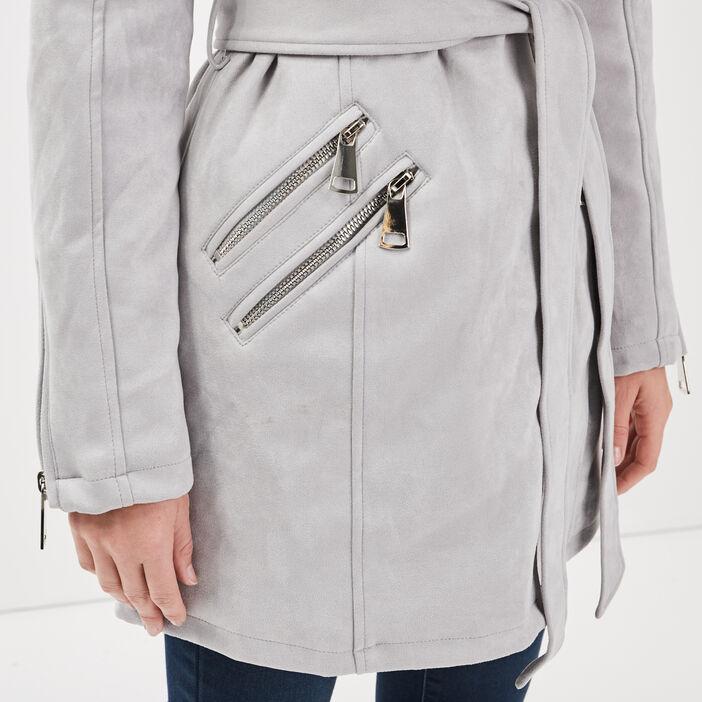 Manteau droit fausse fourrure gris foncé femme