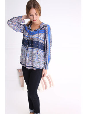 Chemise col tunisien motif vegetal bleu fonce femme