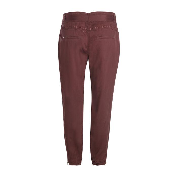 Pantalon taille standard marron foncé femme
