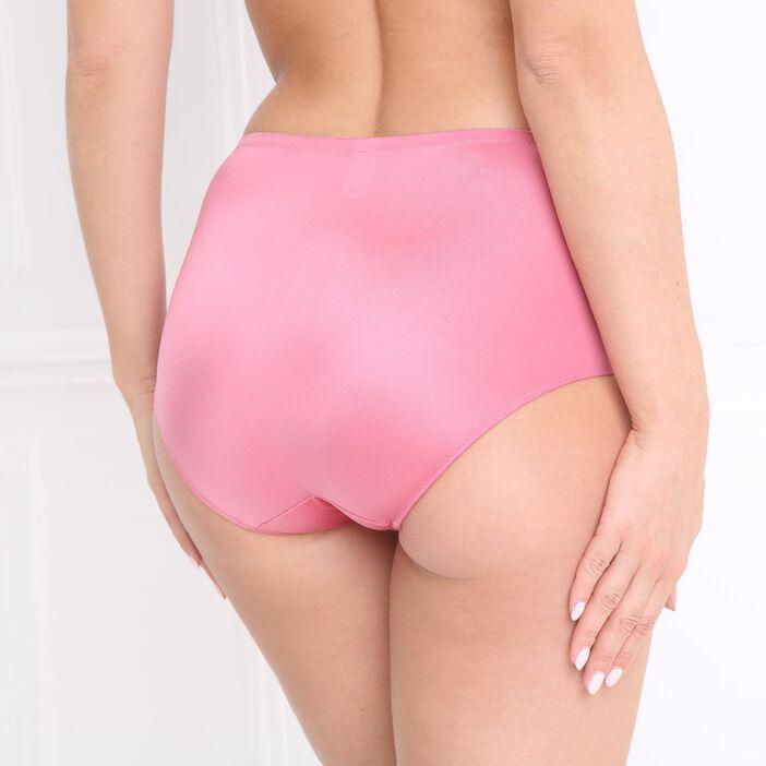Culotte satinée voile brodé rose femme