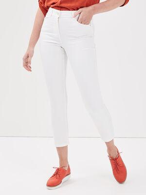 Pantalon ajuste details strass ecru femme