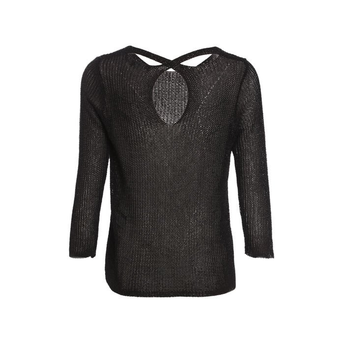 Pull manches 3/4 col rond noir femme