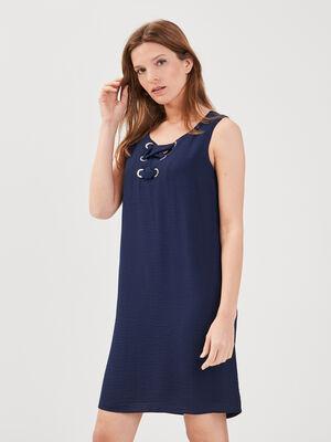Robe droite detail lacage bleu marine femme
