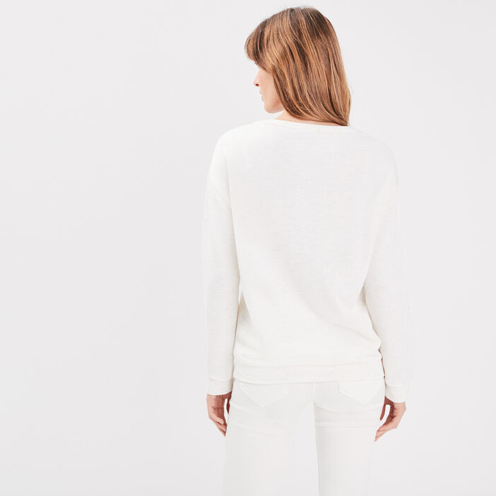 T-shirt manches longues creme femme