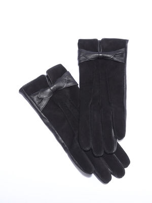 Gants cuir avec noeud noir femme