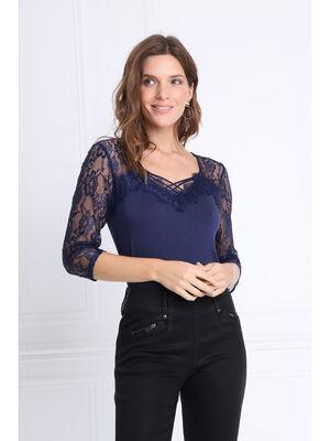 T shirt en maille et dentelle bleu marine femme