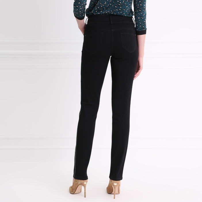 Pantalon bandes côté et passants strass noir femme