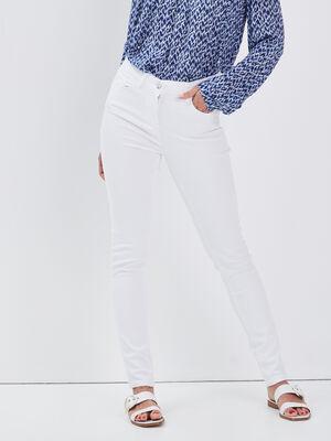 Jean ajuste taille standard blanc femme