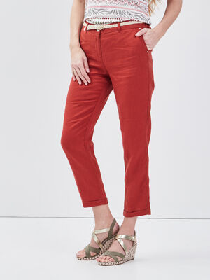 Pantalon chino taille basculee rouge fonce femme