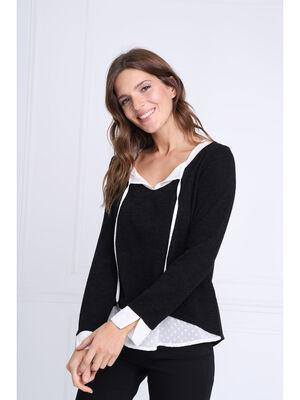 T shirt manches longues 2 en 1 noir femme