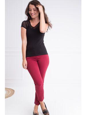 Pantalon taille haute coupe ajustee rouge femme