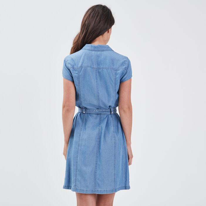Robe droite zippée en jean denim double stone femme