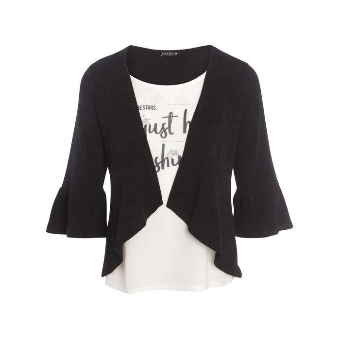 T-shirt forme gilet en maille noir femme