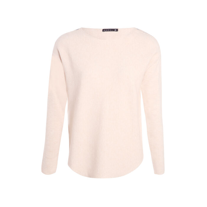 Pull col rond maille unie beige femme