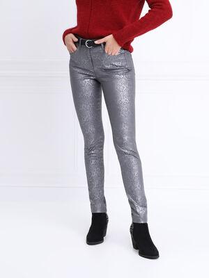 Pantalon pres du corps enduit gris clair femme