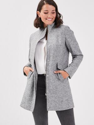 Manteau 2 en 1 zippe gris fonce femme