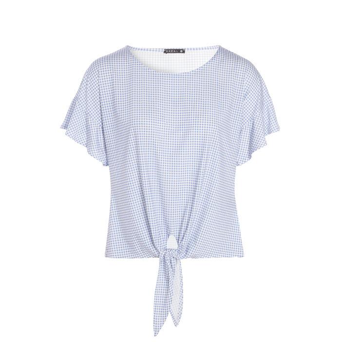 T-shirt manches courtes volant vichy bleu violet femme
