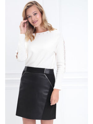 Pull manches longues macrame creme femme