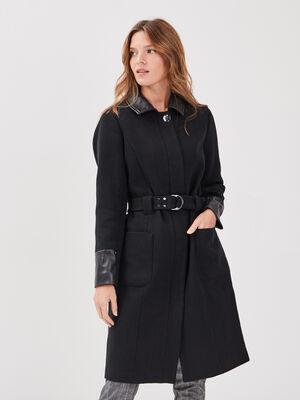 Manteau droit ceinture noir femme