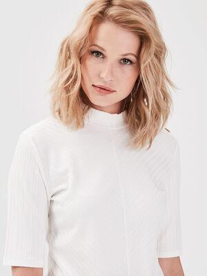 T shirt manches 34 cotele ecru femme