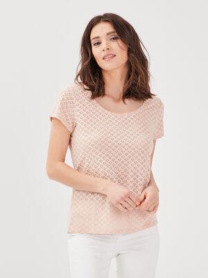 T shirt manches courtes rose poudree femme