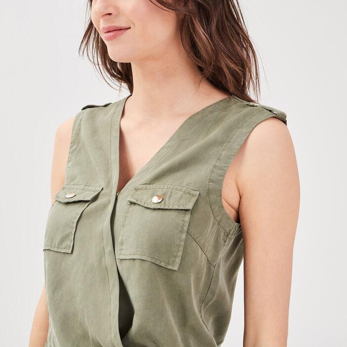 Combinaison pantalon fluide vert kaki femme