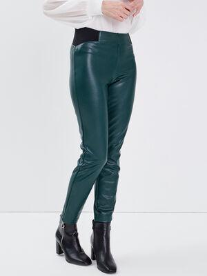 Tregging en similicuir vert fonce femme