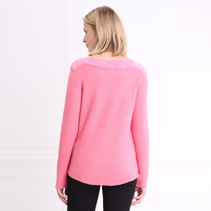 Pull col rond maille shaggy rose fushia femme