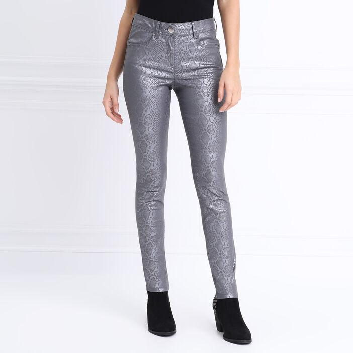 Pantalon près du corps enduit gris clair femme
