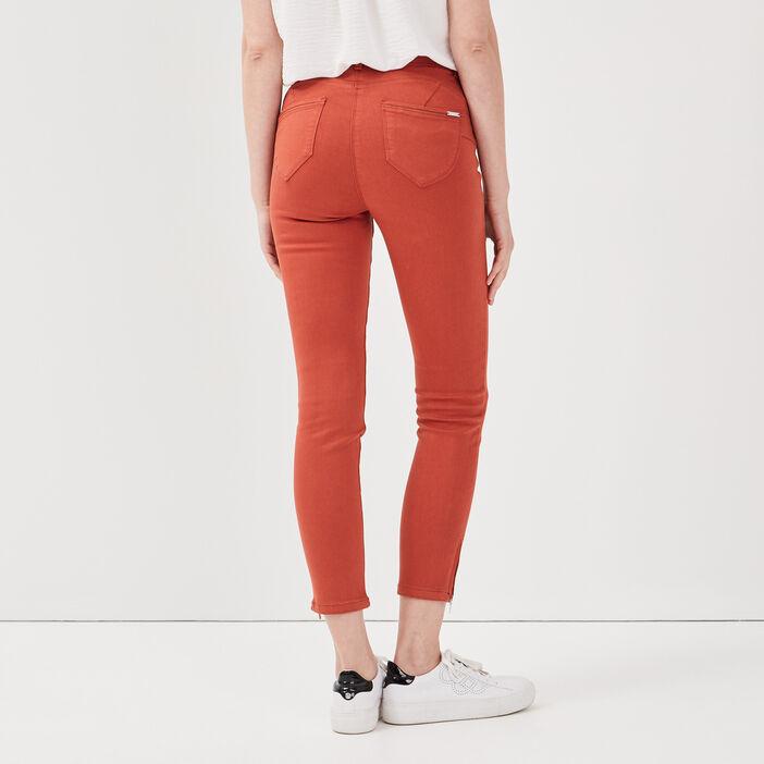 Pantalon ajusté taille haute orange foncé femme