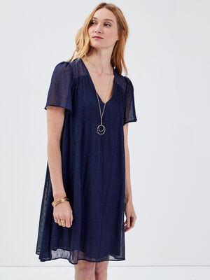 Robe evasee plissee bleu marine femme