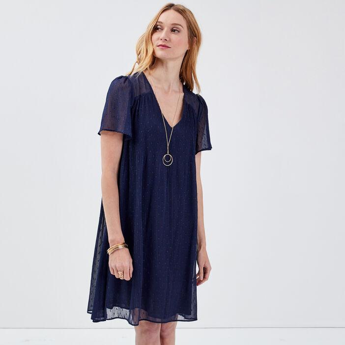 Robe évasée plissée bleu marine femme