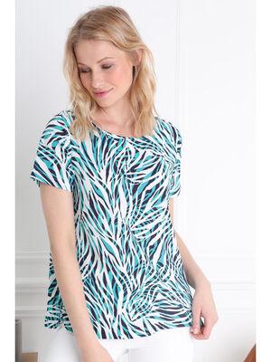 T shirt manches courtes lacage vert turquoise femme