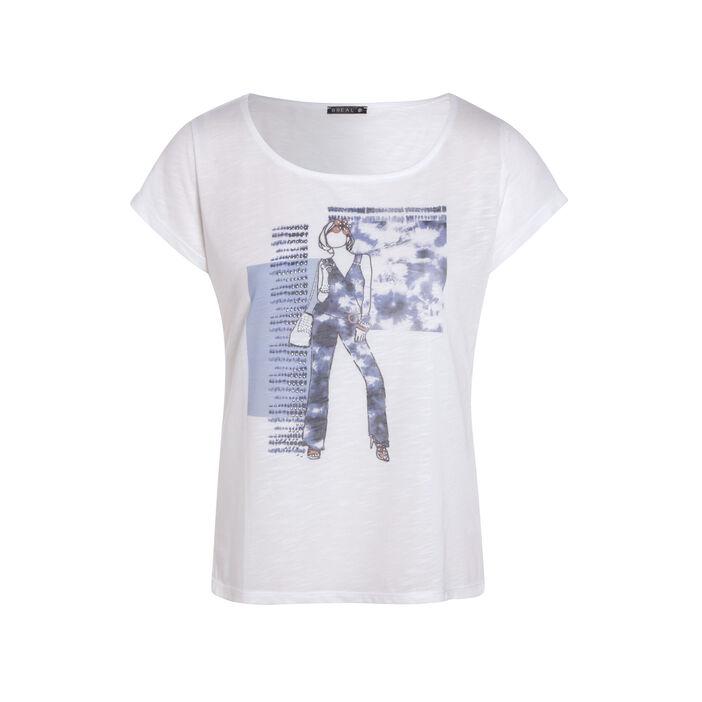 T-shirt manches courtes clous ecru femme