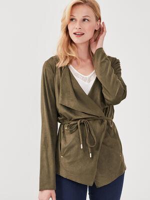 Veste droite suedine vert kaki femme