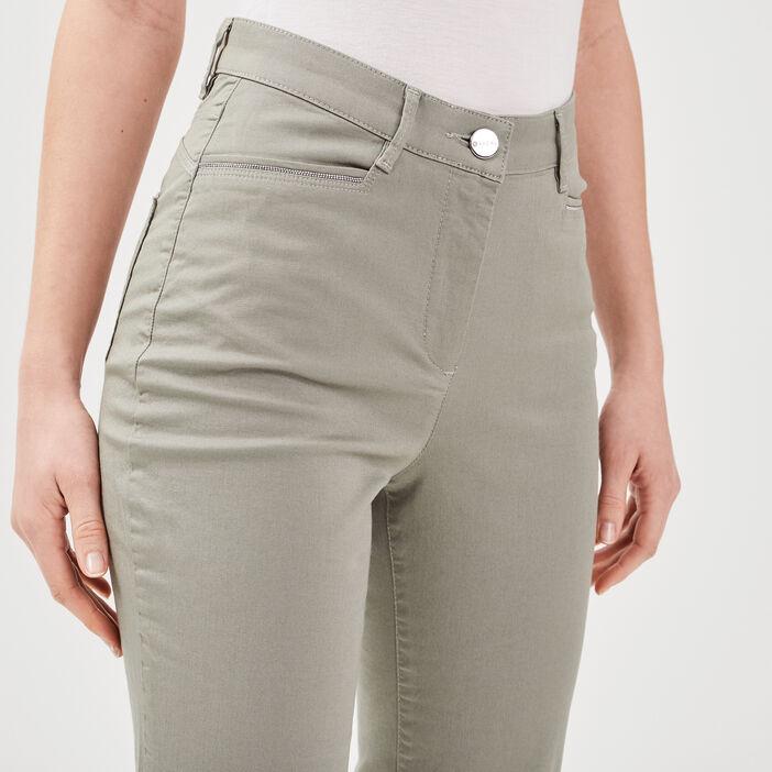 Pantalon droit taille haute vert clair femme